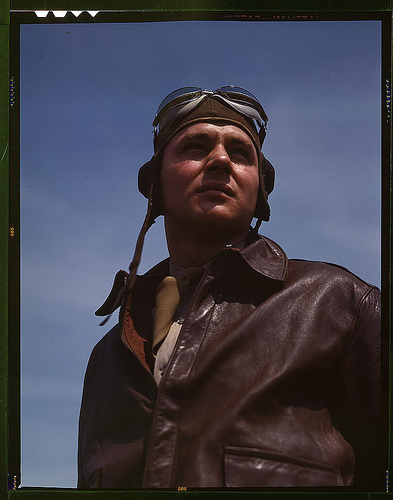 The kind of man Hitler wishes we didn't have. A bomber pilot, captain in a bombardment squadron, just before he climbs aboard his huge YN-17 bombing plane - Flickr